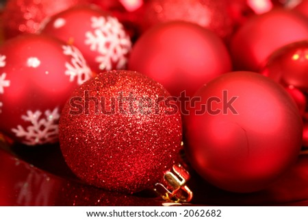 Bright red christmas ball decorations
