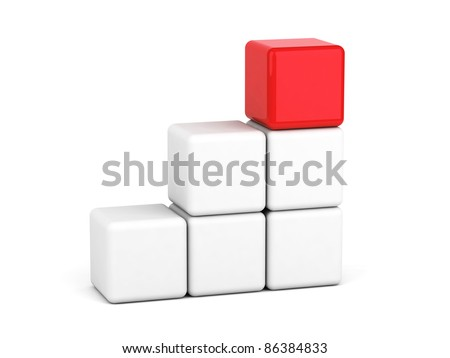 bright red cube leadership concept