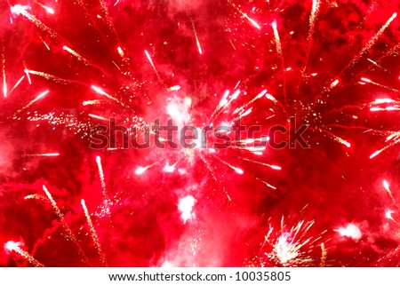 Bright red firework. Holiday background.