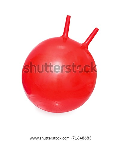 Bright red fitball ball-kangaroo on white background