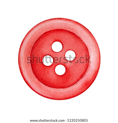 Bright red flat sew-through button with four holes. Classic sewing item, small handiwork detail. One single object, top view. Hand painted water color graphic drawing on white, cutout clipart element.