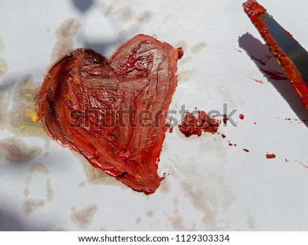 Bright red heart painted with paint, palette knife. With the inscriptions I Love you. Art work drawing on the topic of Love, family. #1129303334