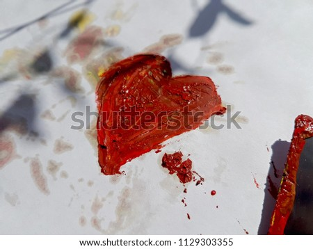 Bright red heart painted with paint, palette knife. With the inscriptions I Love you. Art work drawing on the topic of Love, family. #1129303355