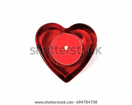 bright red heart with red candle light isolated on white background  #684784708