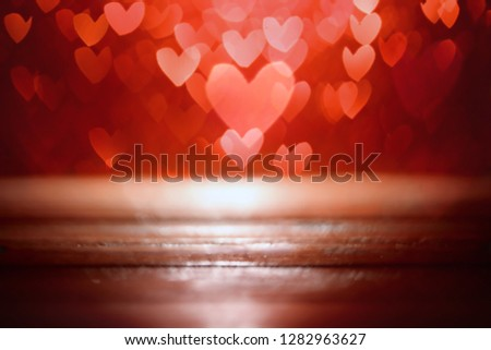 Bright red hearts abstract bokeh background #1282963627