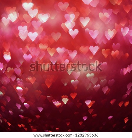 Bright red hearts abstract bokeh background #1282963636