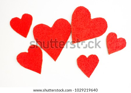 Bright red hearts of different sizes #1029219640