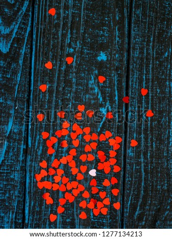 bright red hearts on blue background #1277134213