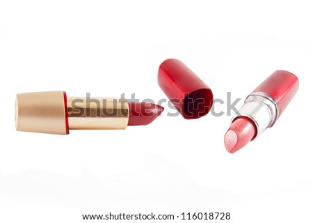 bright red lipstick isolated on white