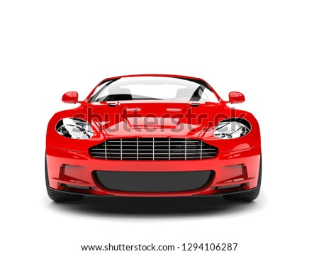 Bright red modern sports luxury car - front view - 3D Illustration