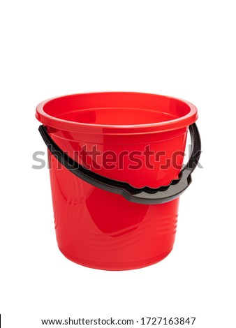 bright red plastic bucket for water or garbage with a bright print ストックフォト ©