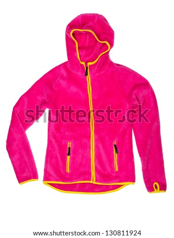 Bright red sports jacket with a hood and yellow accents. Isolate on white.
