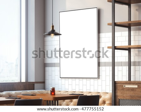Bright restaurant interior with white canvas on a wall with lamp. 3d rendering