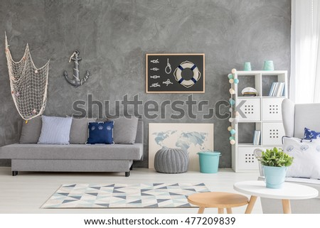 Bright room in shades of grey, with sailing decorations #477209839
