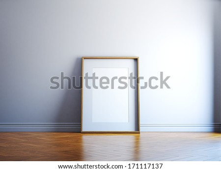 Bright room with blank picture frame