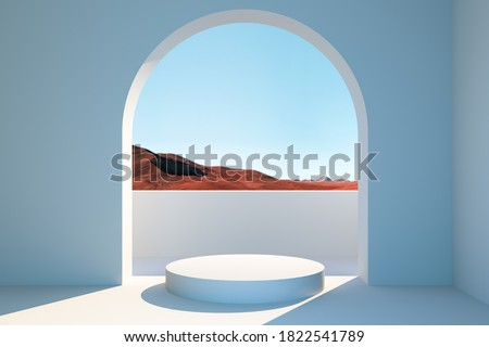 Bright Room With Round Showcase Near Big Arch Window With Beautiful View On Desert. 3d rendering.