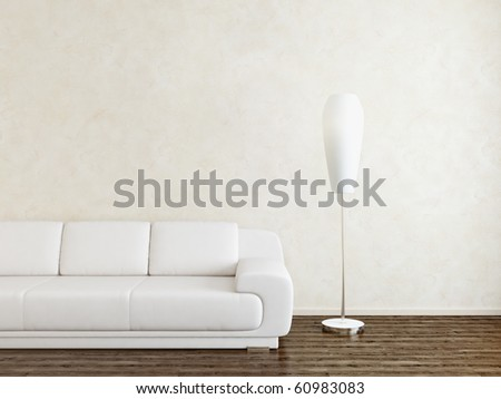 Bright room with sofa and lamp