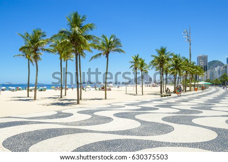 Bright scenic morning view of the iconic boardwalk at Copacabana Beach in Rio de Janeiro, Brazil