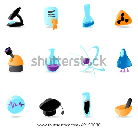 Bright science icons. Raster version. Vector version is also available.