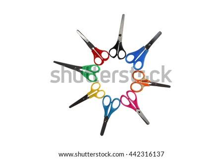 Bright scissors for kids on white background #442316137