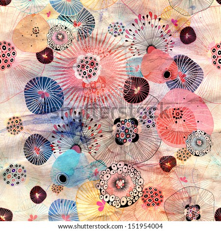 bright seamless abstract floral pattern on a creased paper background