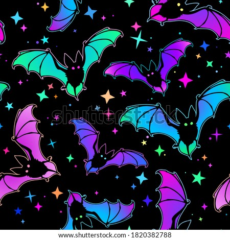 bright seamless background of bats and stars Сток-фото ©