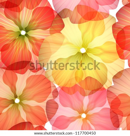 Bright Seamless floral background isolated on white. Illustration