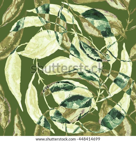 Bright seamless pattern a background with autumn leaves - W #448414699