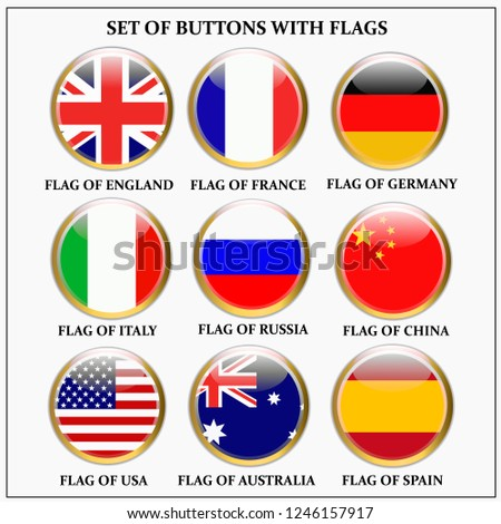 Bright set of banners with flags. Colorful illustration with flags of the world for web design. #1246157917