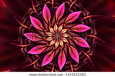 Bright shining energetic digital mandla flower paniting with pink orange and yellow burning elements on dark red background powerful motion light energy for trance yoga meditation and concentration