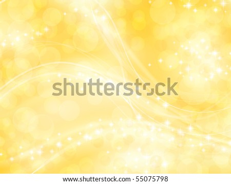 bright shining golden background with bokeh elements and stars - stock photo