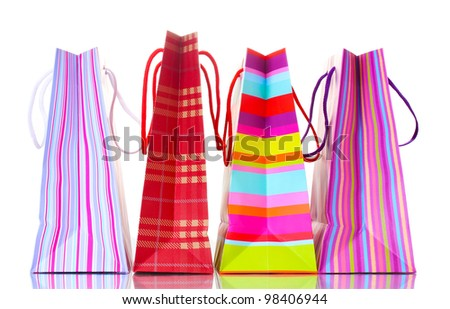 bright shopping bags isolated on white