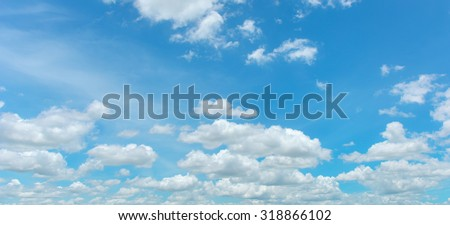 Bright sky and white cloud panorama - Shutterstock ID 318866102