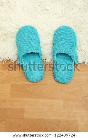 bright slippers, on floor background