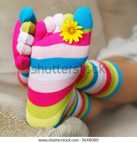 Bright socks and a daisy on the sofa