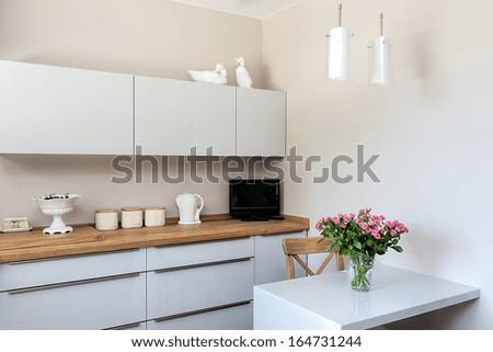 Bright space - a white and elegant kitchen corner