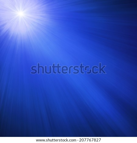 bright sparkling or shining star, midnight blue background sky with white Christmas star shining at an angle