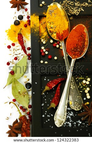 Bright spices border.Isolated on white