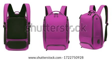 Bright sporty pink backpack, front view and back three quarters, blank, mock-up, clipping path isolated on white background Stockfoto ©