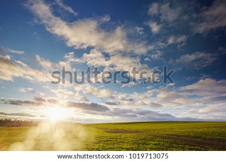 Bright spring landscape against a blue sky with clouds. Skyline. Agricultural fields in rural areas. Sunset and sunshine