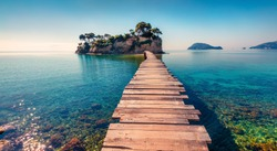 Bright spring view of the Cameo Island. Picturesque morning scene on the Port Sostis, Zakinthos island, Greece, Europe. Beauty of nature concept background.