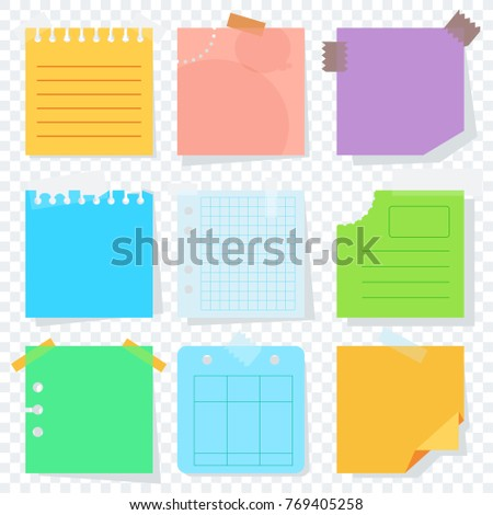Bright square colored sheets of paper for notice. Kanban, notes, reminder of the action plan. Flat cartoon illustration. Objects isolated on transparent background.