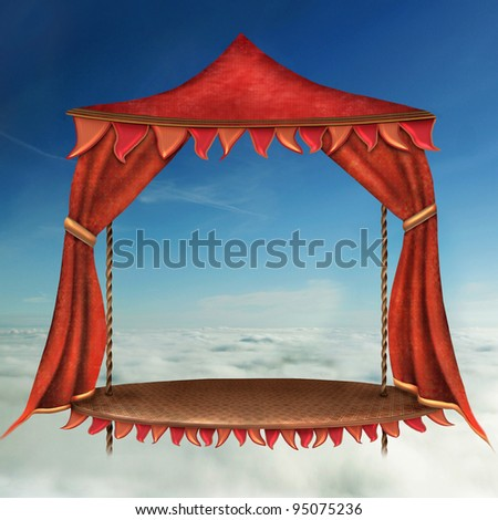 Bright Stage With Red  Theater Curtain