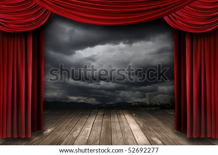 Bright Stage With Red Velvet Theater Curtains and Dramatic Sky Background