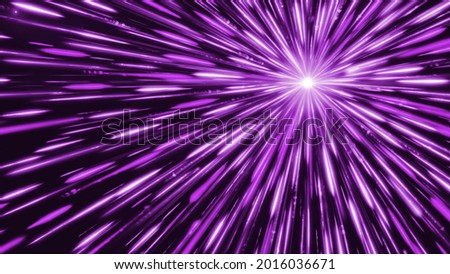 Bright star emits colored lines. Animation. White dot emits bright and colored rays in outer space. Cosmic point that emits light and linear rays Foto stock ©