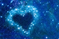 Bright stars in a night sky arranged in the shape of a heart, romantic magic night, love  and Valentines day card - elements of this image are furnished by NASA