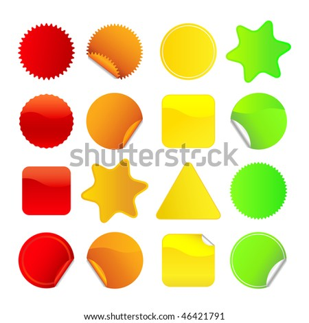 Bright stickers for web, presentations or computer applications.  Red, orange, yellow and green variations included. A vector version of this image is also available in my portfolio.