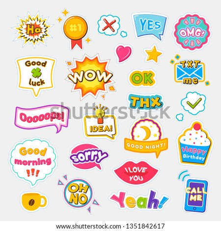 Bright stickers with short and expressive phrases on tasty cupcake, small explosion, red lips and geometric shapes isolated raster illustrations set.