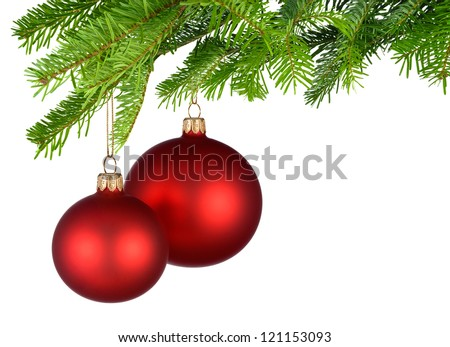 Bright studio shot of two isolated red Christmas baubles hanging from fresh green fir twigs