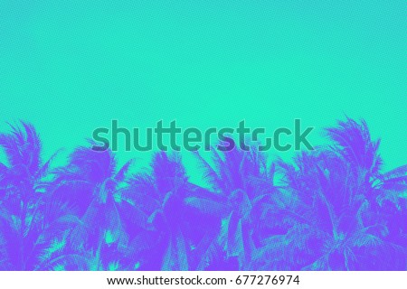 Bright summer background, trendy duotone and halftone effect, 90's style